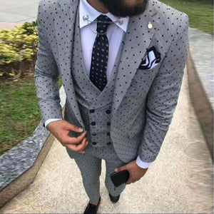 www.mensswaggerapparel.com Quick shipping low price men's vest suit & suit jackets Poika dot Suit 3-Pieces latest coat pant designs Notch Lapel great for Wedding/party(Blazer+vest+Pants)