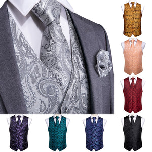 www.mensswaggerapparel.com Quick shipping low price men's vest suit & suit jackets. DiBanGu Vest for Men Silver Red Orange Blue Men's Vest Suit Business Wedding Party Occasion Hanky Cufflinks Vests