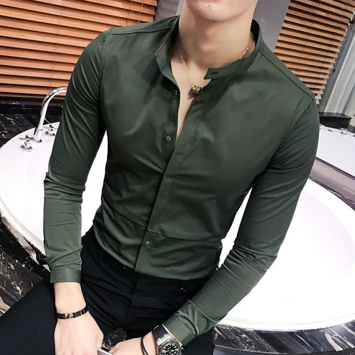 www.mensswaggerapparel.com Quick shipping low prices men's button-down shirts British long-sleeved shirt Slim stand collar pure color shirt