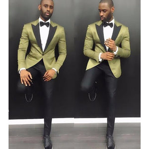 www.mensswaggerapparel.com Quick shipping low price men's vest suit & suit jackets Men Groomsmen Wedding Tuxedos 2 Pieces (Green Jacket+Black Pants) Party Prom Formal Satin Men Tuxedo