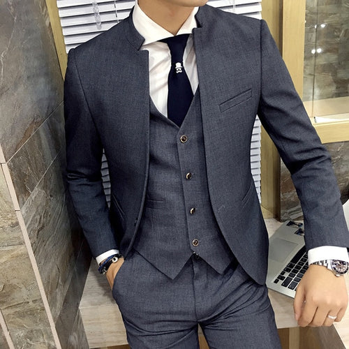 www.mensswaggerapparel.com Quick shipping low price men's vest suit & suit jackets. Grey Stand Collar Slim Fit Mens Suit Slim Fit Custom Made Costume Color Suits Men Formal Grooming Ternos 3 Pieces Suits Set