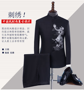 www.mensswaggerapparel.com Quick shipping low prices Traditional  Attire (Jacket+pant) Chinese traditional Dragon Embroidery groom wedding attire