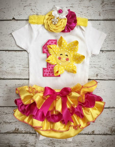 0754c675a You are my Sunshine First Birthday -1st Birthday Outfit/Yellow Hotpink Birthday  Outfit/