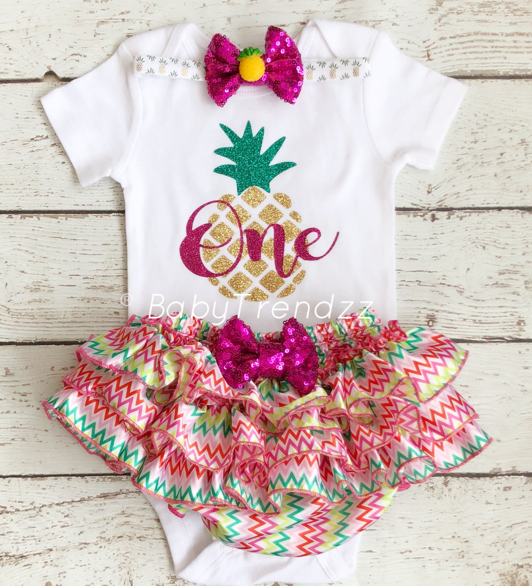 5f932d51066c ... Pineapple 1st Birthday- First Birthday outfit Hawaiian Summer Pineapple  Theme Birthday outfit