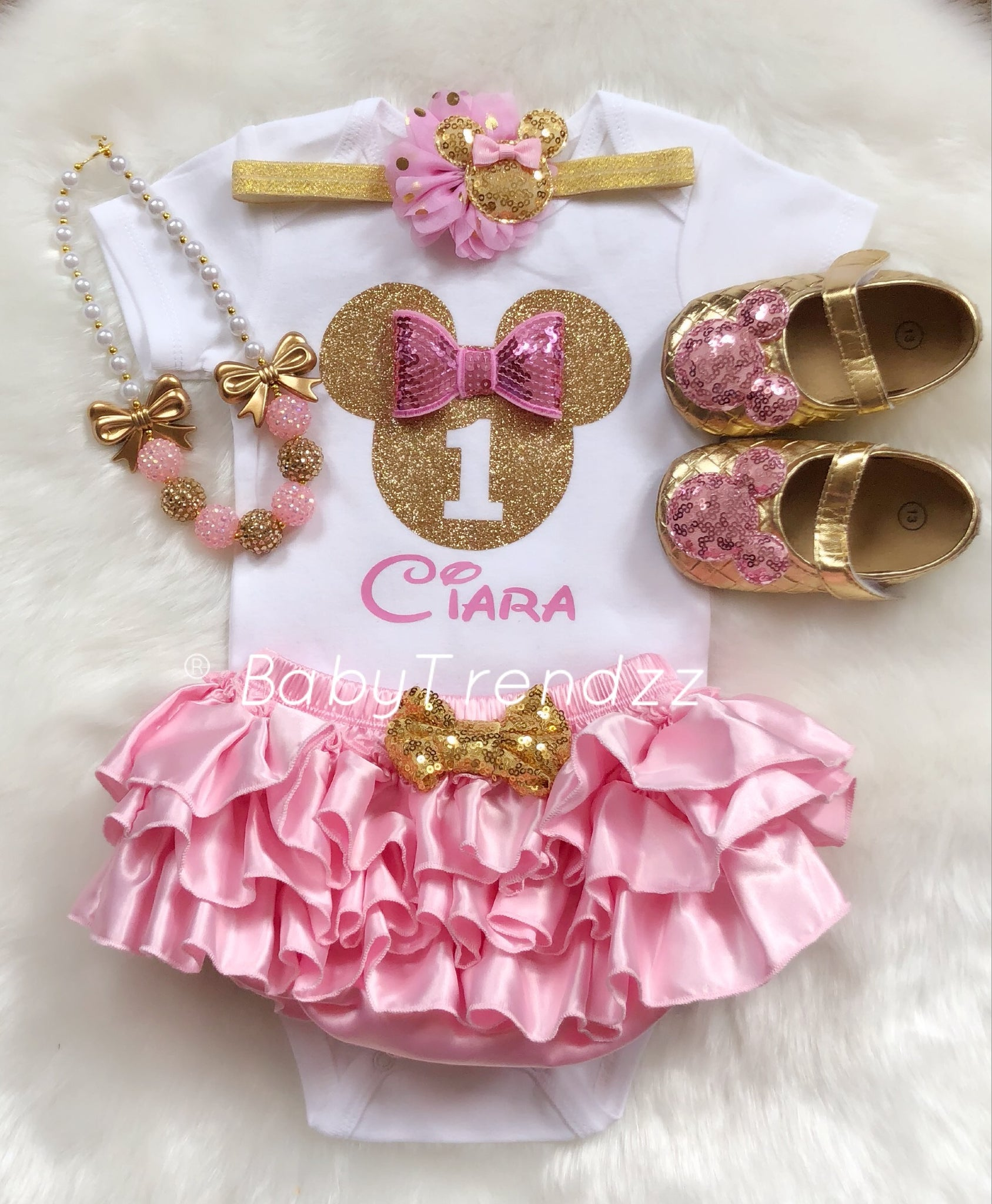 e6618cc21249 BabyGirl Shoes- Minnie Shoes First Birthday Shoes Pink Gold Shoes ...