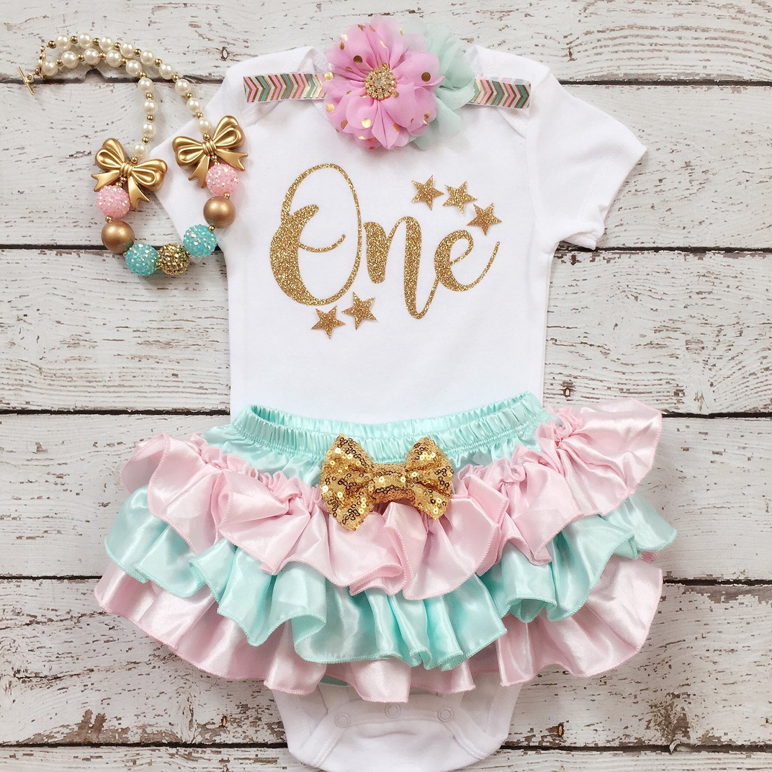 ee92c11e1 ... First Birthday Outfit- Pink Mint Gold/Twinkle Twinkle Little Star/  Princess Birthday