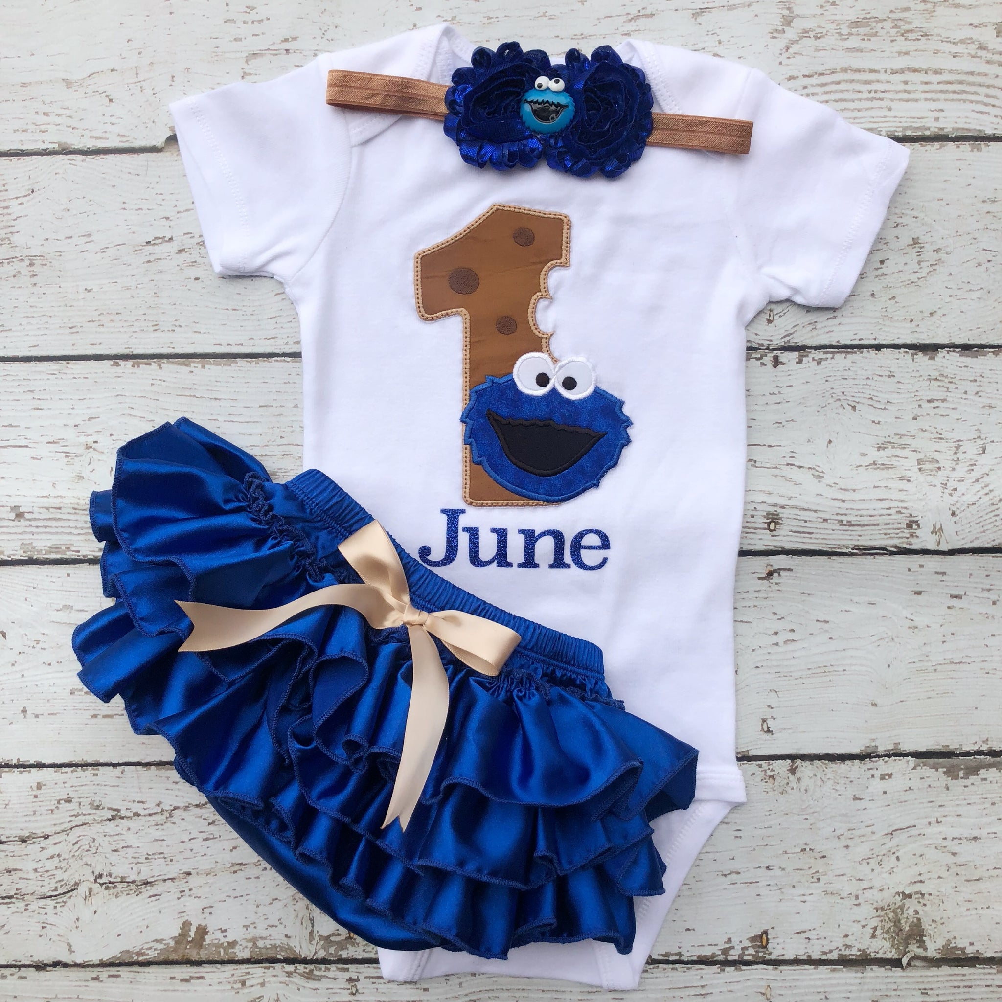 Cookie Monster First Birthday outfit Sesame Street friends BabyGirl