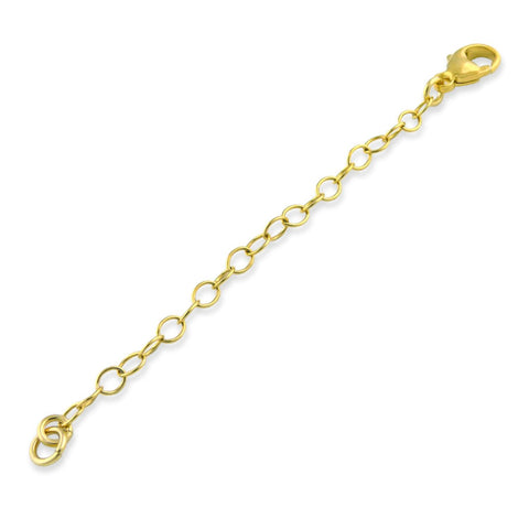 14k Gold Plated Sterling Silver 3mm Necklace Extender Chain