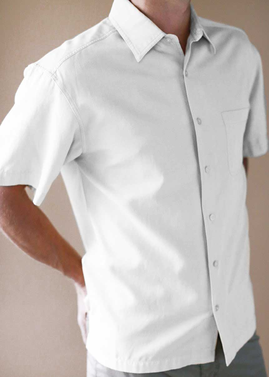 Men's White Silk And Cotton Shirt