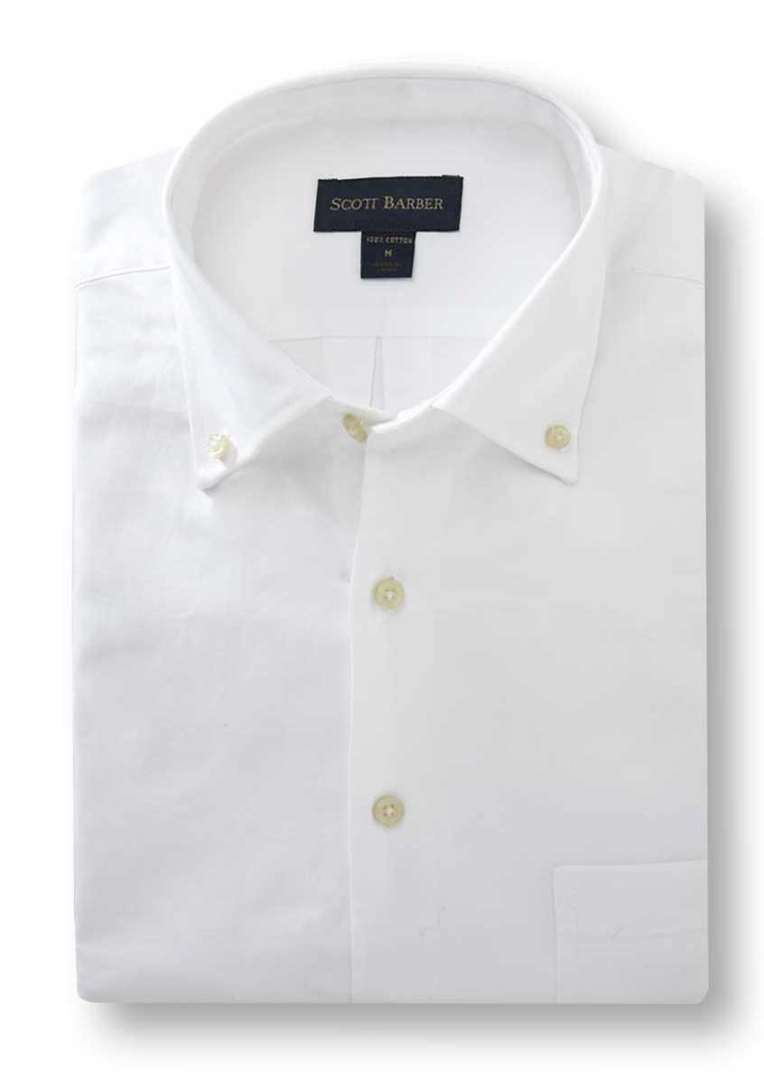 Men's White Cotton Oxford Shirt - Scott Barber