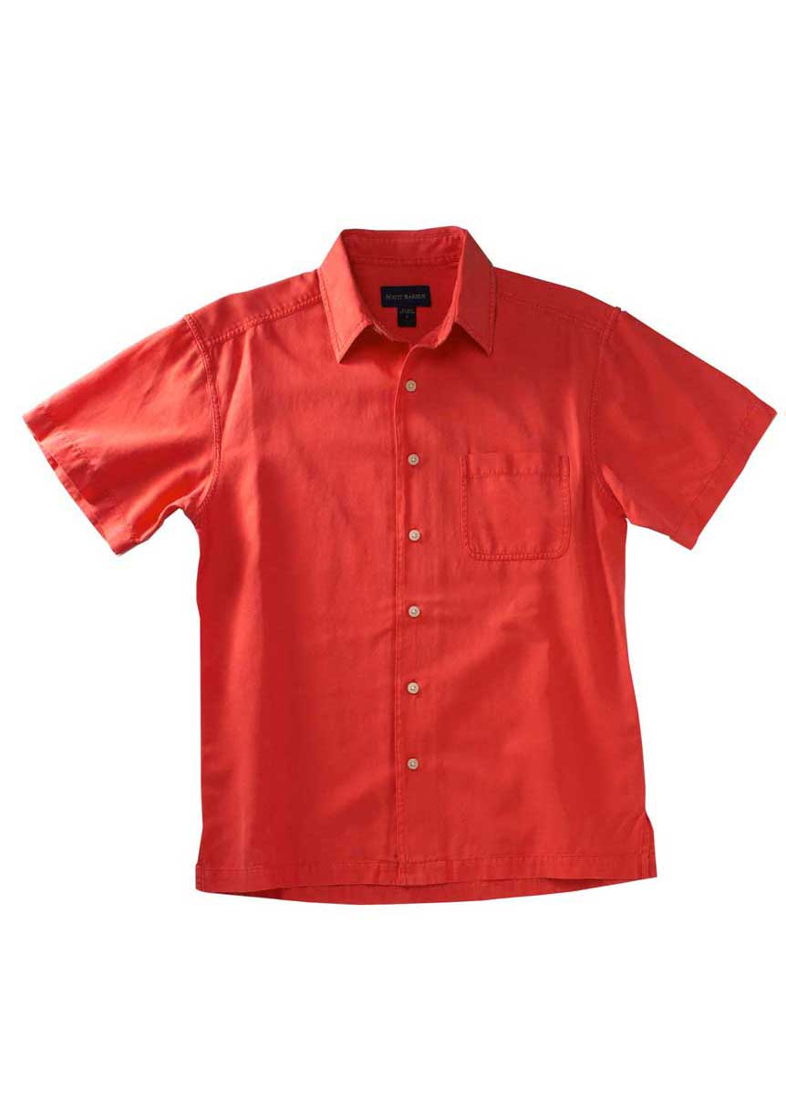Men's Red Silk And Cotton Shirt - Scott Barber