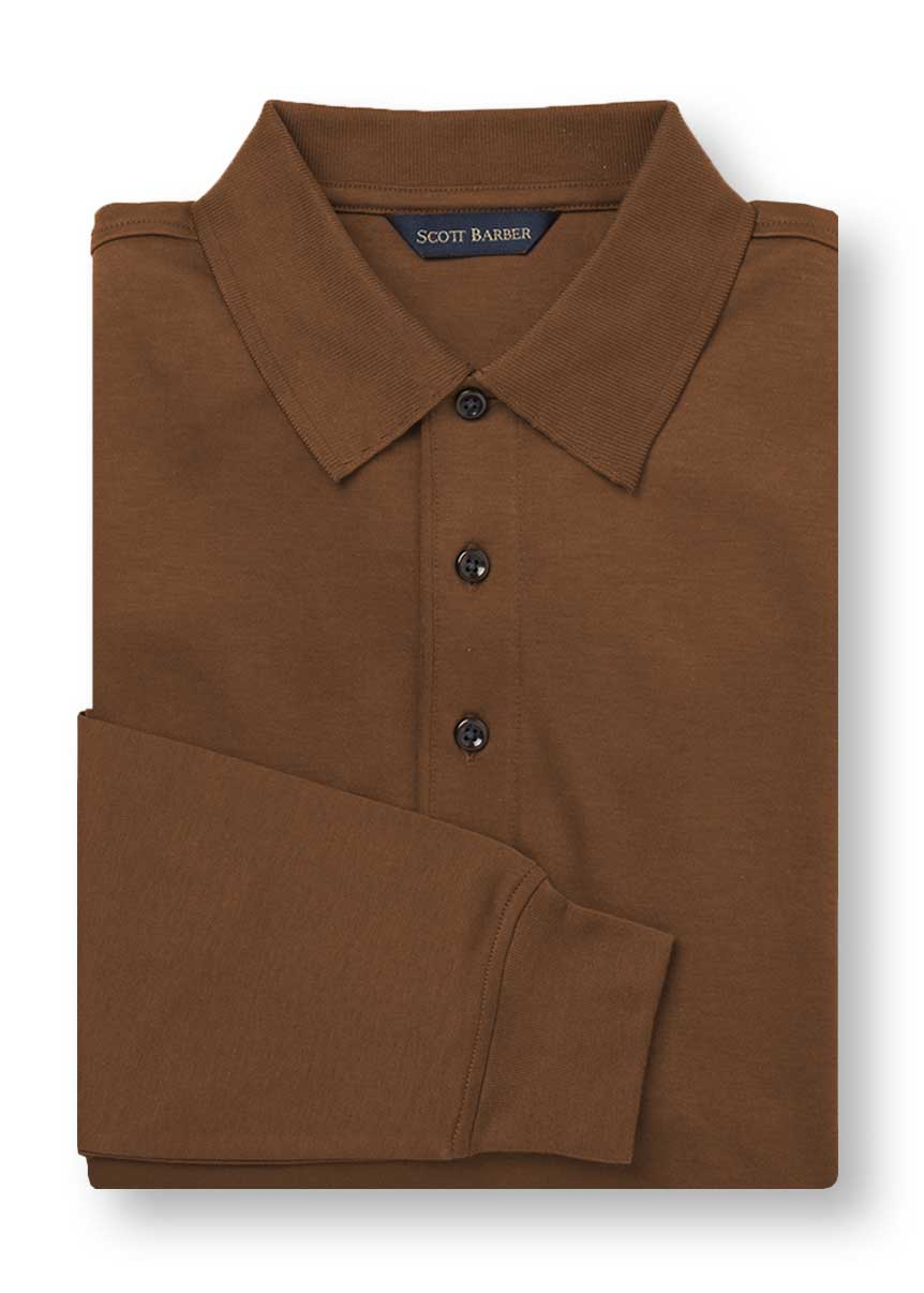 Men's Tobacco Long Sleeved Polo - Scott Barber