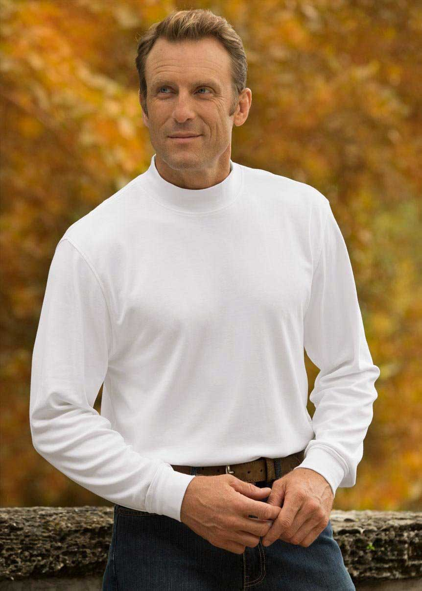 Men's White Mock Turtleneck