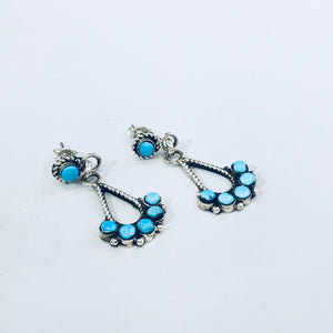 Handmade Native Zuni Turquoise Earrings
