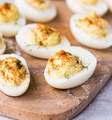 deviled eggs, easter brunch menu recipe ideas from we drink bubbles