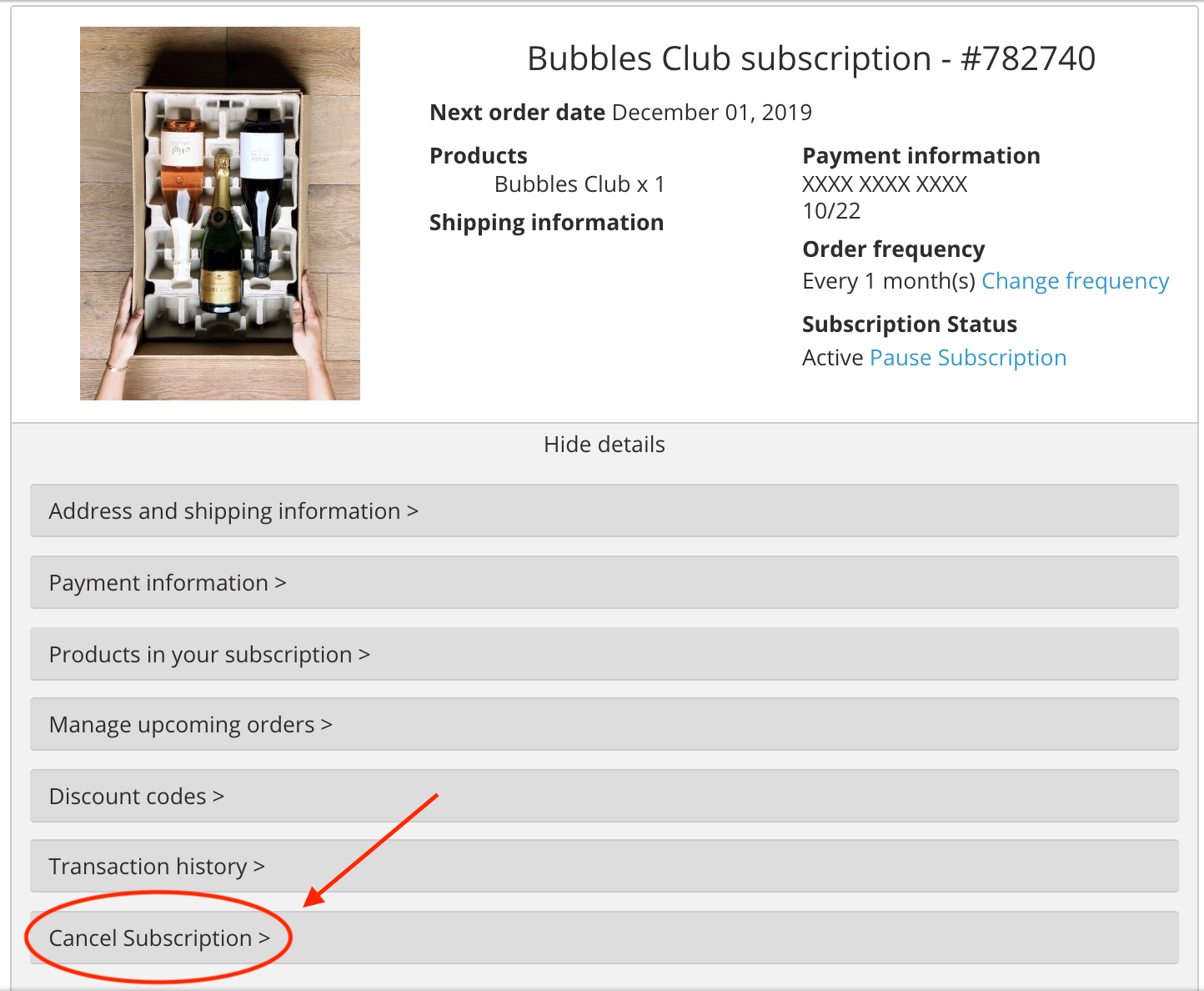 pause or cancel subscription