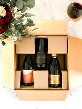 Our Sip and Celebrate curated wine box. 3 bottles of our favorite boutique napa valley reds and champagne