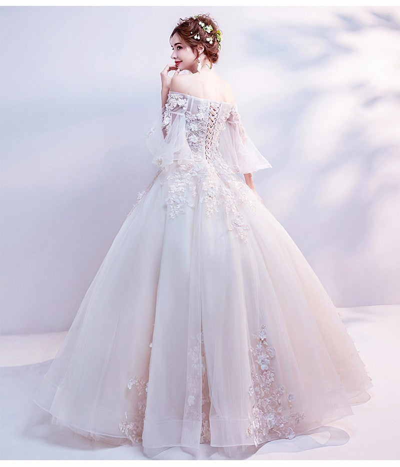 Sweetheart 3 D Flower, Applique, Lace Up Wedding Dress