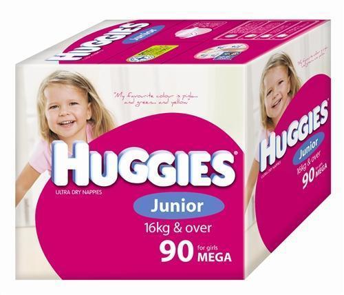 Huggies Ultra Dry Nappies Junior Girl 16+ kg Mega Box 90 Nappies