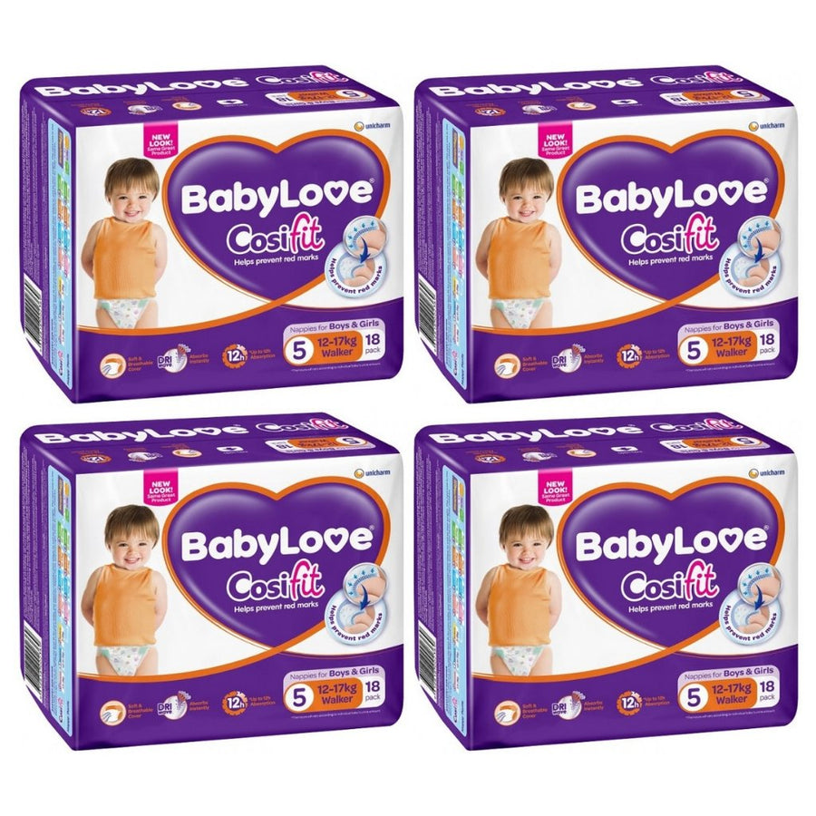 BabyLove Cosifit Nappies Walker Handy Pack BULK 4x18