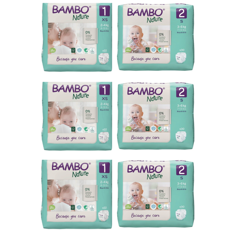 Bambo Nature Nappies Size 1 & 2 Mixed Box - Bulk 3x22 & 3x30
