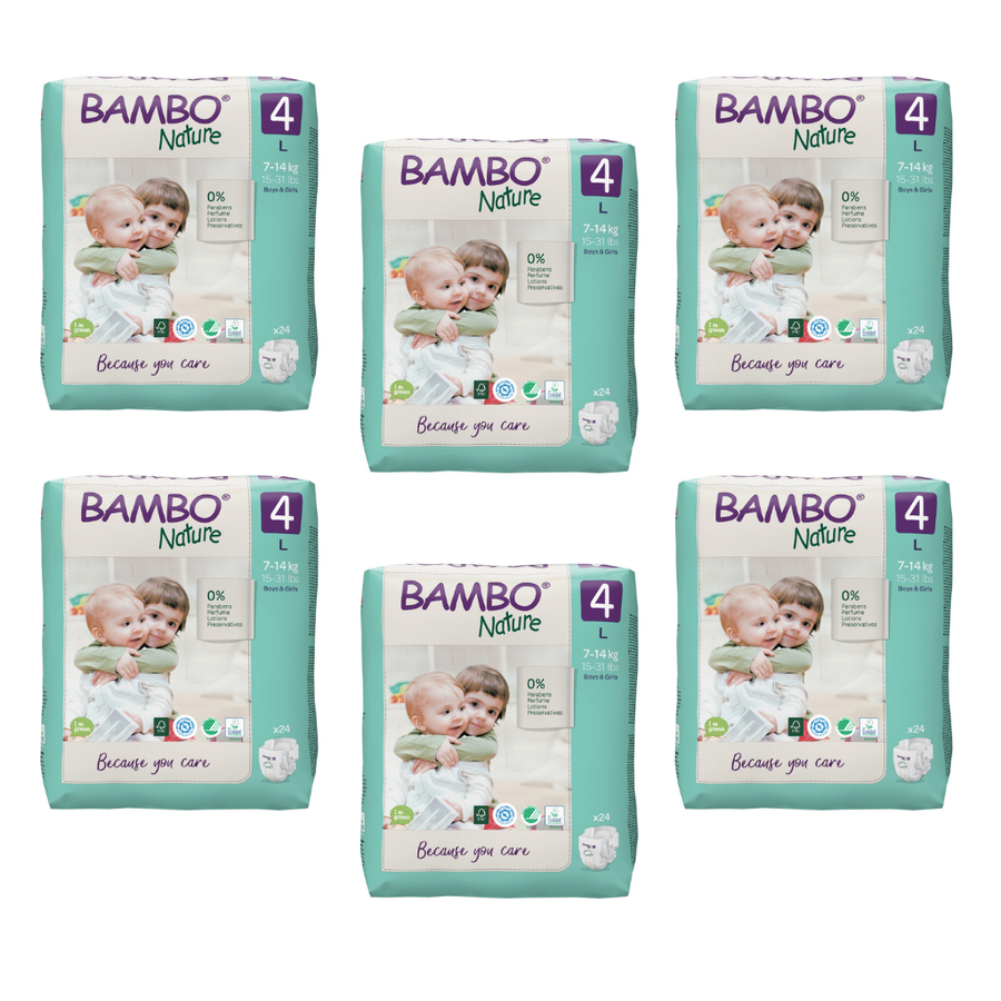 Bambo Nature Nappies Size 4 - Bulk 6x24