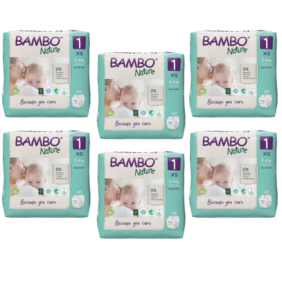 Bambo Nature Eco Nappies Size 1 XS - Bulk 6x22