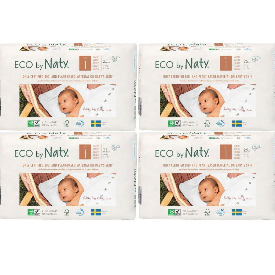 ECO by Naty Nappies Size 1 Newborn - BULK 4x25