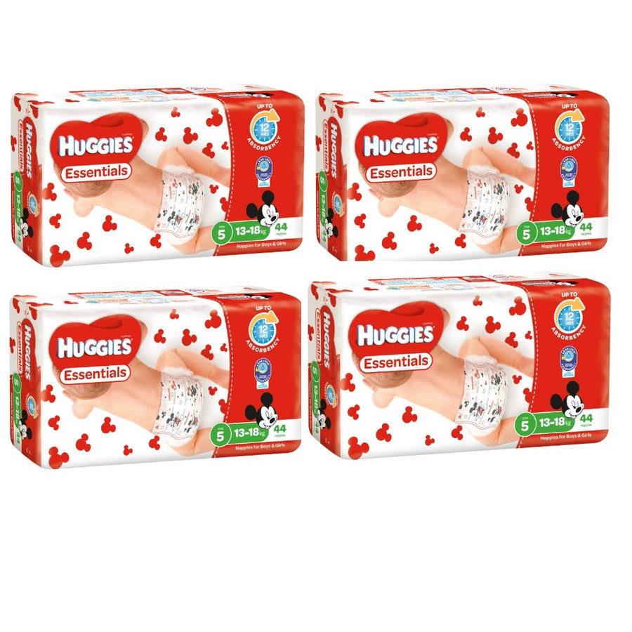Huggies Essentials Nappies Size 5 Walker 13-18kg BULK 4x44