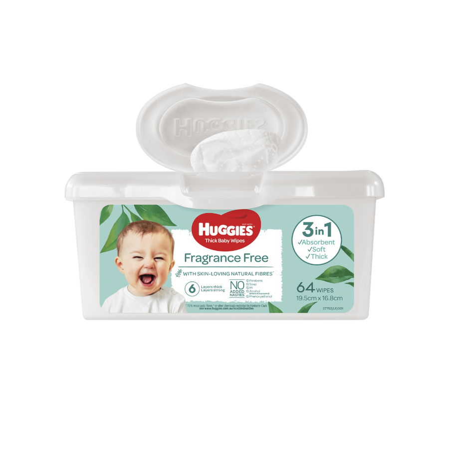 Huggies Baby Wipes Unscented Tub 64