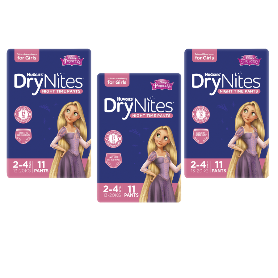 Huggies DryNites 2-4 years for Girls - Bulk 3x11