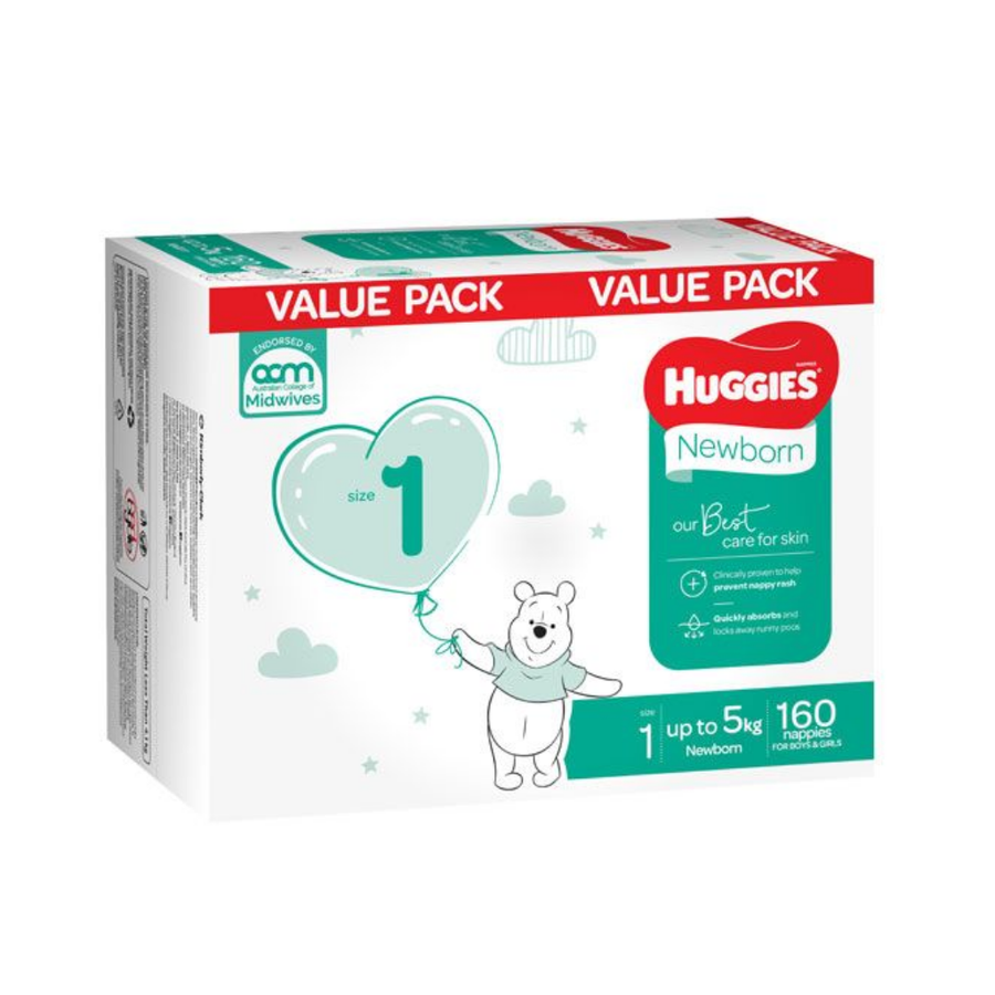 Huggies Ultimate Nappies Size 1 Newborn <5kg Mega Box - 160 Pack