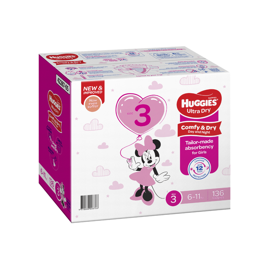 Huggies Ultra Dry Nappies Size 3 Crawler Girl - 136 Pack