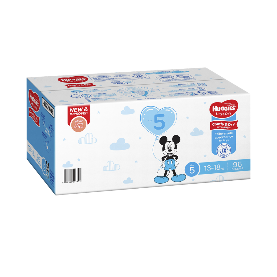Huggies Ultra Dry Nappies Size 5 Walker Boy - 96 Pack