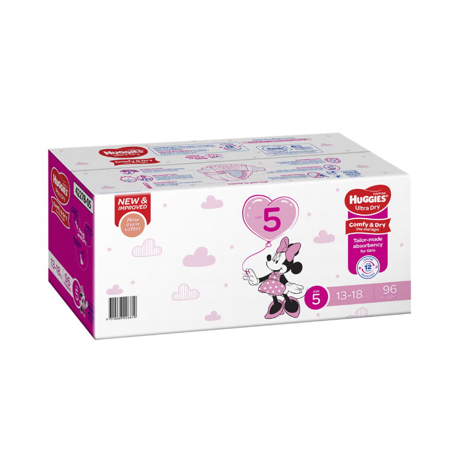 Huggies Ultra Dry Nappies Size 5 Walker Girl - 96 Pack