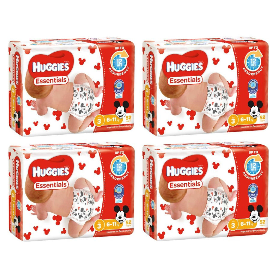 Huggies Essentials Nappies Size 3 Crawler 6-11kg BULK 4x52