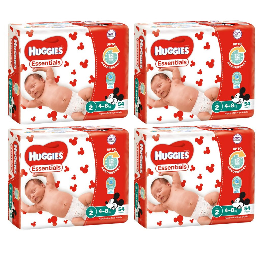 Huggies Essentials Nappies Size 2 Infant 3-8kg BULK 4x54