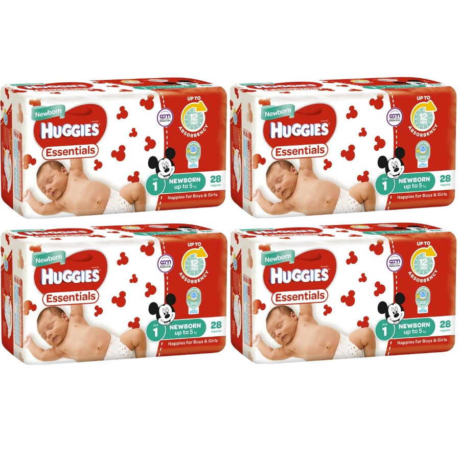 Huggies Essentials Nappies Newborn Size 1 <5kg BULK 4x28