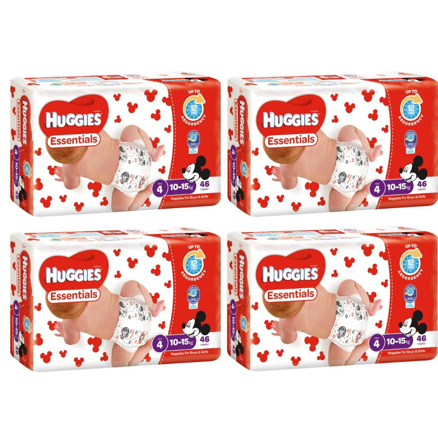 Huggies Essentials Nappies Size 4 Toddler 10-15kg BULK 4x46