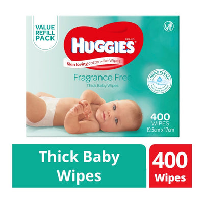 Huggies Fragrance Free Thick Baby Wipes - 400 Pack