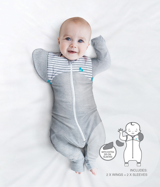 Love To Dream Swaddle Up Transition Suit 1 TOG - Medium - Grey & White Stripe