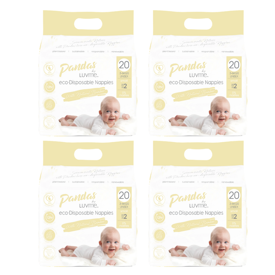 Pandas by Luvme Eco Nappies Size 2 Bulk Buy