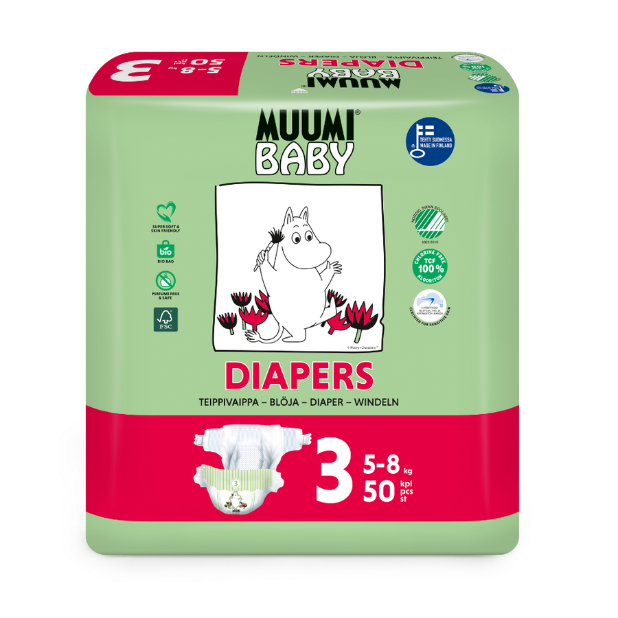 Muumi Eco Nappies Midi Size 3 - 50 Pack