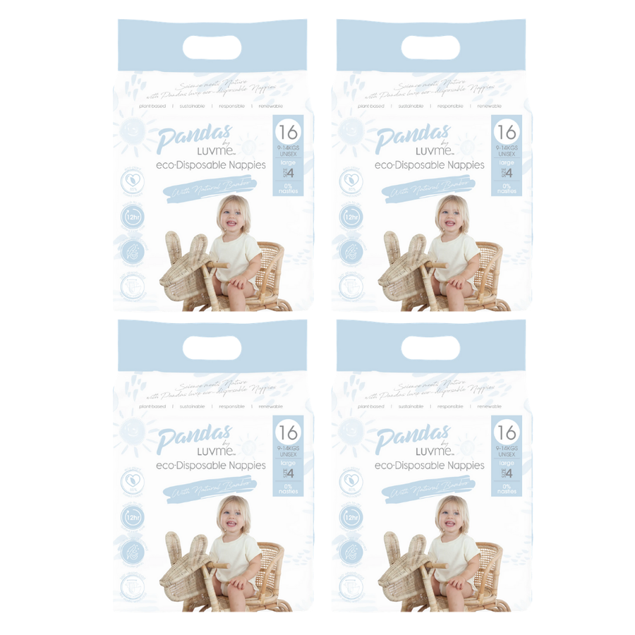 Pandas by Luvme Eco Nappies Size 4 - Bulk 4x16