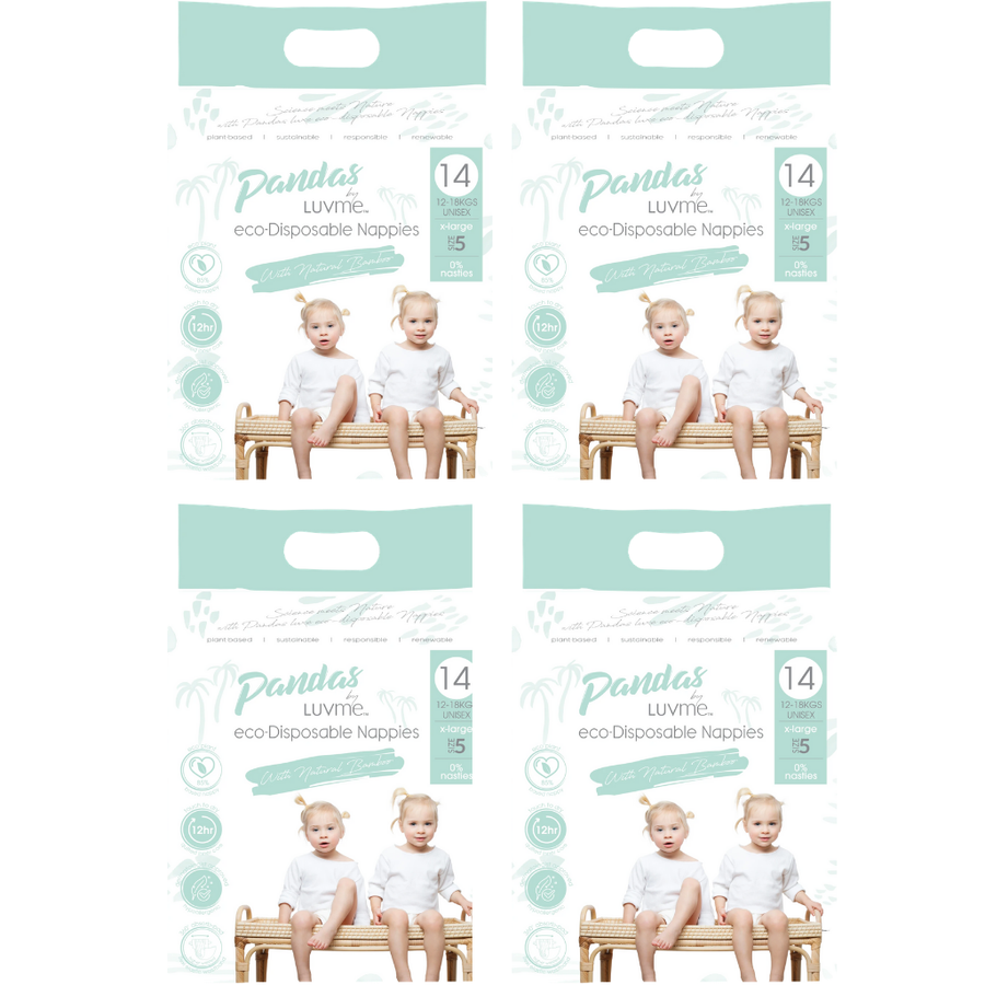 Pandas by Luvme Eco Nappies Size 5 - Bulk 4x14