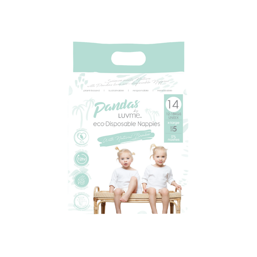 Pandas by Luvme Eco Nappies Size 5 - 14 Pack