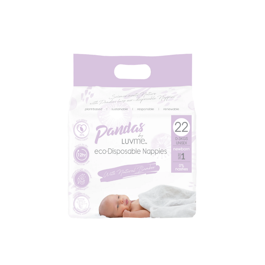 Pandas by Luvme Eco Nappies Newborn Size 1 - 22 Pack