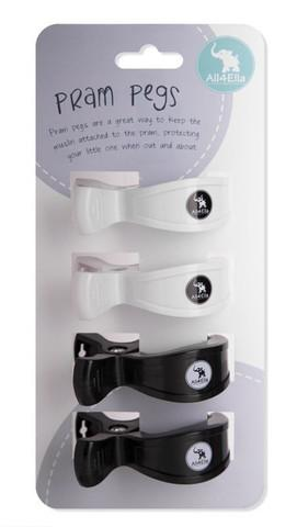 All4Ella Pram Pegs 4 Pack - White Black