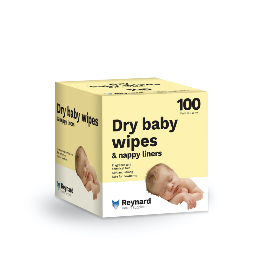 Reynard Dry Baby Wipes & Nappy Liners - 100 Pack