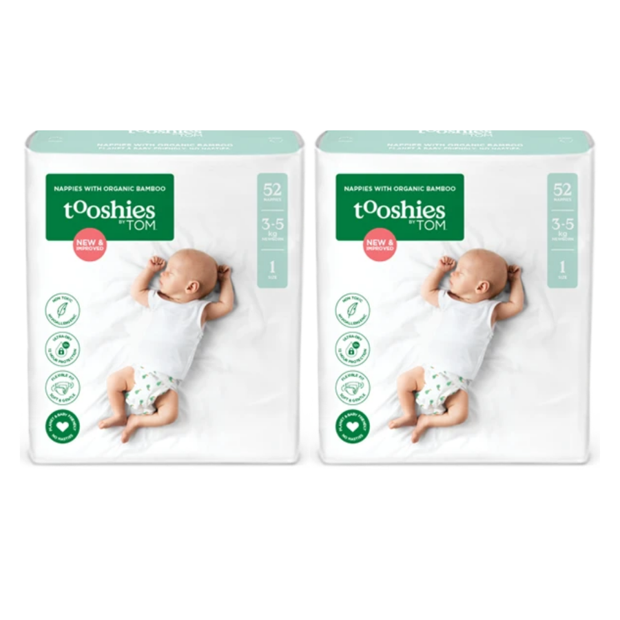 Tooshies by TOM Nappies Size 1 Newborn - Bulk 2x52